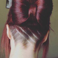 Women's long hair geometric undercut