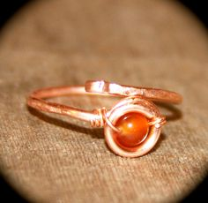 Adjustable Copper Ring Carnelian Stone, Stacker Ring, Midi Rings, Stone Thin Ring, Ring Handmade Knuckle Silver Gold Thin Ring Stacking Ring by BirchBarkDesign on Etsy