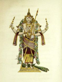 """""""Supramanya (Kartikeya), second son of Lord Siva""""  Handcoloured engravings by Frederic Shoberl from his work 'The World in Miniature: Hindoostan'. London: R. Ackerman, 1820's."""