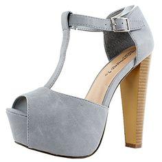 Breckelles Women's BRINA Peep Toe High Heel T-Strap Platform Sandals GY 7 - http://all-shoes-online.com/breckelles/7-b-m-us-breckelles-womens-brina-peep-toe-high-heel-t-7