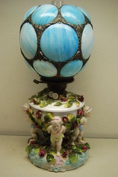 """MADE BY SITZENDORF PORCELAIN CO. DURING 1890-1910 IN DRESDEN GERMANY. THE LAMP IS IN A GREAT ORIGINAL. Our unique collection of American """"gone with the wind"""" lamps took many years to form. It is now for sale and currently awaiting new owner. 