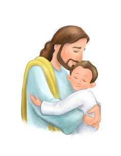 Baptism gift for little boy Christ hugging child cartoon Jesus Cartoon, Cartoon Kids, Christian Images, Christian Art, Christian Iphone Wallpaper, Christian Cartoons, Jesus Artwork, Getting Baptized, Jesus Christ Images