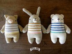 cute crochet toys by Pica Pau Crochet Teddy, Crochet Bunny, Love Crochet, Crochet For Kids, Crochet Animals, Beautiful Crochet, Diy Crochet, Amigurumi Patterns, Amigurumi Doll