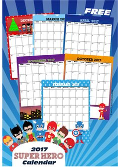 Here is aFREE Super Hero Calendar. Learnabout the days, months, weeks, and year with this free printable2017 calendar. This is perfect for 3
