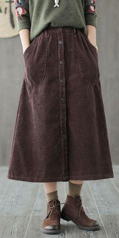 c861a2b9a Women High Waist Corduroy Skirt Casual Pure Color Clothes Q697 Waist Skirt,  Midi Skirt,