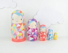 Geometric Nesting Doll Matroyshka 'Little Neons' - Becky Kemp