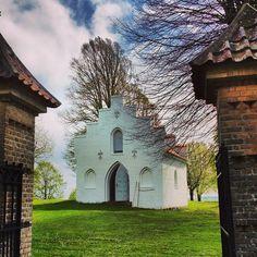 Chapel in an old cemetery on a windswept hill near Nebel, DK.
