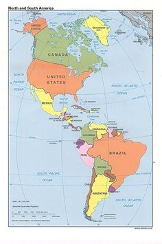 Political Map of North America and South America, 1996 North And South America, South Pacific, Road Trip Map, Canada North, Asia Map, World Geography, Geography Map, Travel Log, Gulf Of Mexico