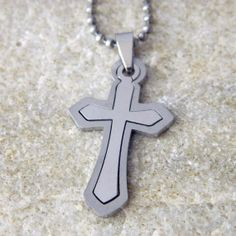 Men's Stainless Steel Double Cross Necklace with by WireNWhimsy, $25.00