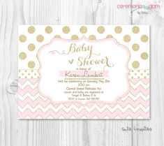 Pink and gold baby shower invitation Baby shower by ceremoniaGlam