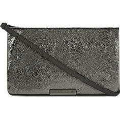 MARC BY MARC JACOBS Ravenheart metallic leather clutch (Anthracite
