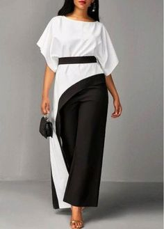 Asymmetric Hem Half Sleeve Top and Black Pants Classy Dress, Classy Outfits, Chic Outfits, Dress Outfits, Hijab Fashion, Fashion Outfits, Latest African Fashion Dresses, Contemporary Fashion, Mode Inspiration