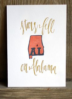Alabama Letterpress Print by 1canoe2 on Etsy, $15.00