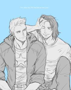 Steve and Bucky BFFS <3 asdfjshajkll I love it