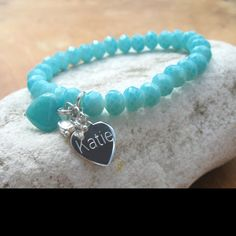 Faceted Engraved Bracelet TURQUOISE