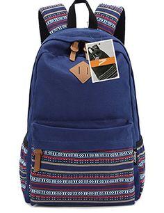 Leaper Casual Style Lightweight Canvas Laptop Bag Cute Shoulder Bag School Backpack Travel Bag Large Navy BlueFlower 1 * Visit the image link more details.