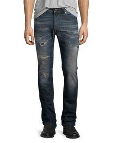 Thavar Distressed Denim Jeans, Dark Blue
