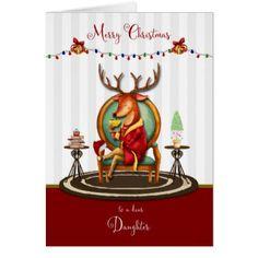 Christmas Reindeer for Daughter Card - Xmas ChristmasEve Christmas Eve Christmas merry xmas family kids gifts holidays Santa