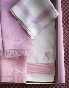 Follow me on Pinterest!  NANCY KATHRYN LEWIS vintage pink and white linen - monogrammed