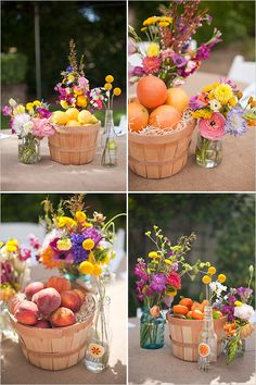 I love the feel of these mixed vases & fresh cut flowers baskets of fruit for wedding centerpieces