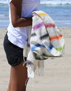 rainbow striped towel made from Ethiopian cotton {The Little Market}