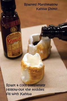 Kahlua shots. Fun for the holidays....LOL..I wonder how long it takes for the alcohol to eat through the marshmallow? hmmmm....maybe a test run is needed before showtime.