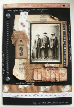 Love the layering of ephemera and elements. This look could be easily adapted to a heritage page. by rosalind