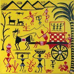 warli drawing  | Items similar to Warli Indian Folk Art Painting using Vibrant Yellow ...