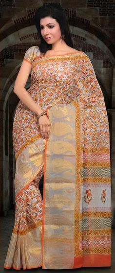 #White and #Orange Dual Toned Kota Doria #Saree With #Blouse @ US $57.67