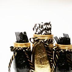 Mason Jar Centerpieces, Black and Gold Decor, Glitter Jars, Gold Wedding, Party Centerpieces, Party Decor, Graduation Party Decor, Set of 3 - http://www.babyshower-decorations.com/mason-jar-centerpieces-black-and-gold-decor-glitter-jars-gold-wedding-party-centerpieces-party-decor-graduation-party-decor-set-of-3.html