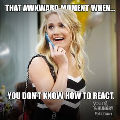 "S4 Ep3 ""Young & Fried"" - Majorly awkward. #YoungAndHungry"
