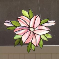 Stained Glass Pink Lily Flower Suncatcher by FoxStainedGlass