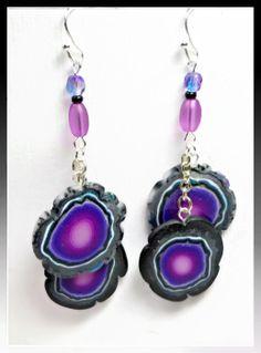 Polymer Clay Purple Faux Geode Dangle Earrings