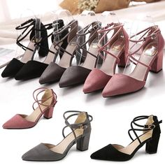 Women's Block Kitten High Heels Suede Leather Shoes Pumps Pointed sandals #Unbranded #KittenHeels #asual