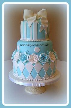 Tiffany Blue & White Stacked Wedding Cake