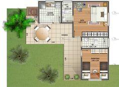 Casa 2 quartos, usando a varanda como área de circulação.
