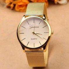 Luxusní dámské společenské moderní zlaté hodinky Geneva QuartzPošta Zdarma