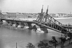 Liberty bridge in Budapest made temporarily usable after the siege, 1945