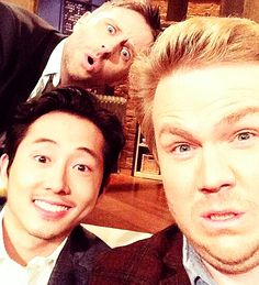 I LOVE ALL 3 OF YOU. YES, I DO. STEVEN AND JOSH ON THE TALKING DEAD.