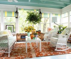 Sunroom Decorating and Design Ideas. Get inspired with clever layout and pretty fabrics, furniture, and accents to transform your sunroom into the most-used room in your house. Tags: sunroom design ideas, sunroom furniture, floor to ceiling windows Decor, House, Terrace Furniture, Home, Outdoor Rooms, Living Spaces, Blue Ceilings, Sunroom Designs, Interior Design