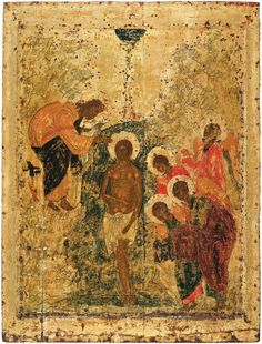 Baptism of Christ, 1405 by Andrei Rublev. Cathedral of the Annunciation (Moscow Kremlin), Moscow, Russia Byzantine Icons, Byzantine Art, Russian Icons, Russian Art, Religious Icons, Religious Art, Andrei Rublev, Baptism Of Christ, Christian Art