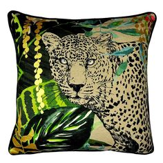 Inspired by the bold and vibrant colours of the tropical rain forests, this square cushion has been printed with a bright, striking design of a leopard amongst . Vibrant Colors, Colours, Bedclothes, Reception Rooms, Tropical, Cushions, Prints, Inspiration, Design