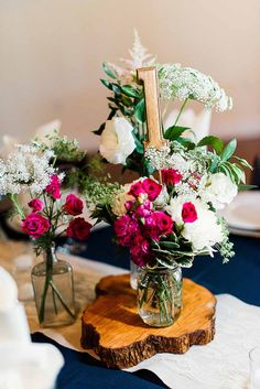 Floral Rustic Centerpiece by Violets in Bloom - Pink and Blue Wedding at Up the Creek Farms in Grant Valkarie, FL - click pin for more - www.orangeblossombride.com