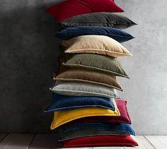 "Washed Velvet Pillow Cover, $20, (5) 20"" indigo blue, 5 inserts #potterybarn"