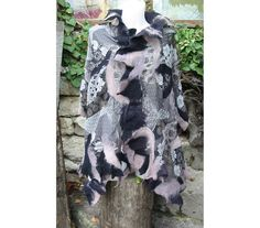 Felt Cape,Felt Shawl,European Wrap Cape,Woman Cape,Large Shawl,Black  GrayFelt Cape,Wrap FeltCape,AU Wool Felt Cape,Nuno Felt Cape,Handmade