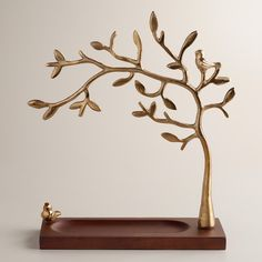 Gold Tree Jewelry Stand with Wooden Base | World Market