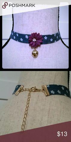 Flower & Heart Denim Choker Adorable flower & heart denim choker (purple flower). Jewelry Necklaces
