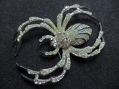 Coro Katz Spider Pin Brooch Vtg Rhinestone Large 1942 Insect Costume Jewelry 370   eBay