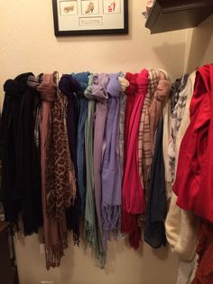 Scarf organization- hang a towel rod in your closet to organize, display and have easy access to your scarfs. Wall hooks on adjacent wall to hold infinity scarves.