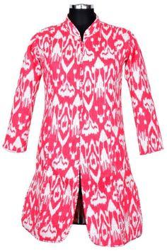 S Cotton Ikat Print Long Vest Jacket Quilted Sherwani India ID-14967 #JaipurCreations #BasicJacket